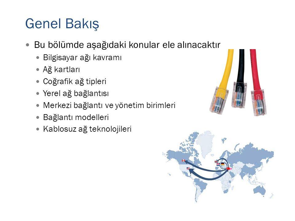 Genel Bakış Bu bölümde aşağıdaki konular ele alınacaktır Bilgisayar ağı kavramı Ağ kartları Coğrafik ağ tipleri Yerel ağ bağlantısı Merkezi bağlantı ve yönetim birimleri Bağlantı modelleri Kablosuz ağ teknolojileri