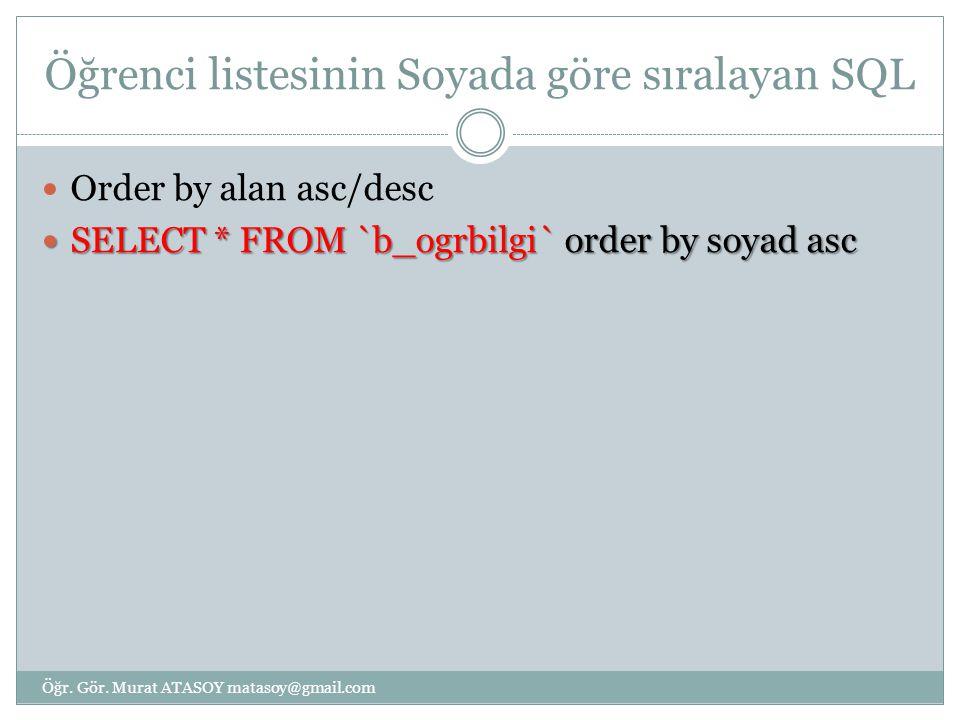 Öğrenci listesinin Soyada göre sıralayan SQL Order by alan asc/desc SELECT * FROM `b_ogrbilgi` order by soyad asc SELECT * FROM `b_ogrbilgi` order by