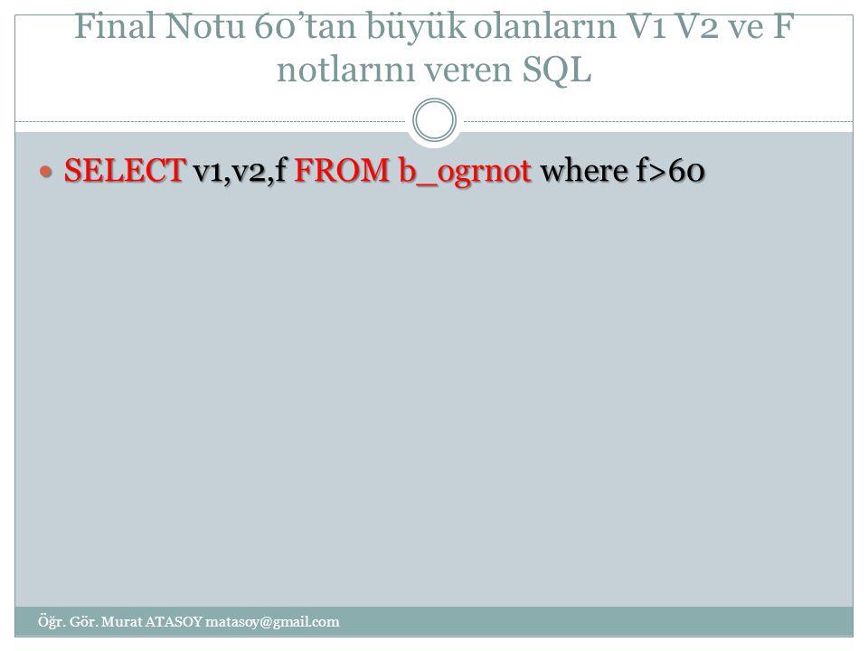 Final Notu 60'tan büyük olanların V1 V2 ve F notlarını veren SQL SELECT v1,v2,f FROM b_ogrnot where f>60 SELECT v1,v2,f FROM b_ogrnot where f>60 Öğr.