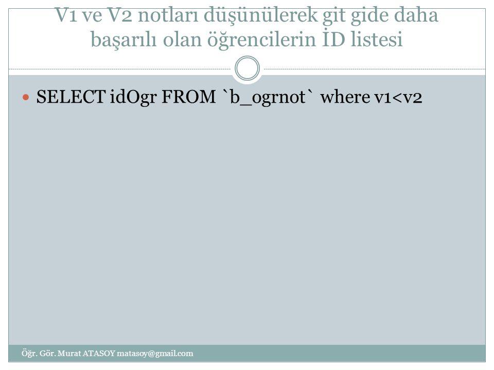 V1 ve V2 notları düşünülerek git gide daha başarılı olan öğrencilerin İD listesi SELECT idOgr FROM `b_ogrnot` where v1<v2 Öğr. Gör. Murat ATASOY matas