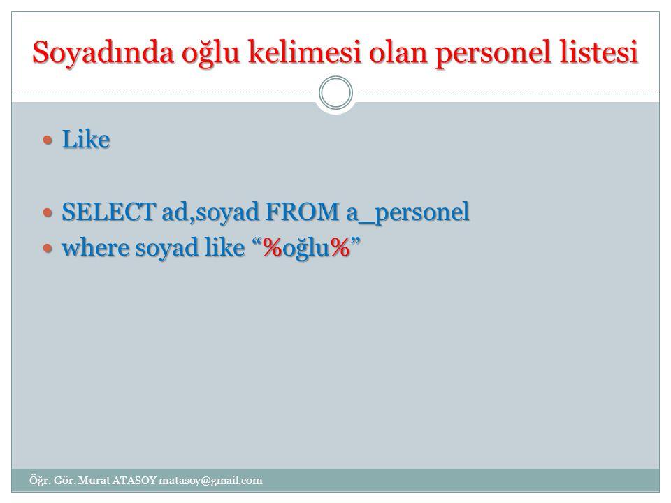 Adı Dilek veya Mehmet olan ve Maaşı 1400'den büyük olan personel listesi SELECT * FROM `a_personel` SELECT * FROM `a_personel` where (ad= dilek or ad= mehmet ) and maas>1400 where (ad= dilek or ad= mehmet ) and maas>1400 Öğr.