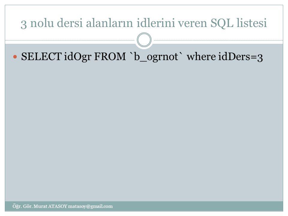 3 nolu dersi alanların idlerini veren SQL listesi SELECT idOgr FROM `b_ogrnot` where idDers=3 Öğr. Gör. Murat ATASOY matasoy@gmail.com