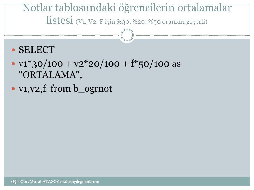 Notlar tablosundaki öğrencilerin ortalamalar listesi (V1, V2, F için %30, %20, %50 oranları geçerli) SELECT v1*30/100 + v2*20/100 + f*50/100 as ORTALAMA , v1,v2,f from b_ogrnot Öğr.