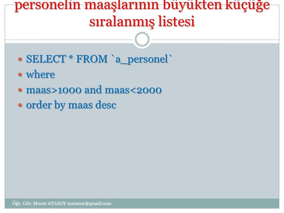 Maaş 1000 ile 2000 arası olan personelin maaşlarının büyükten küçüğe sıralanmış listesi SELECT * FROM `a_personel` SELECT * FROM `a_personel` where where maas>1000 and maas 1000 and maas<2000 order by maas desc order by maas desc Öğr.