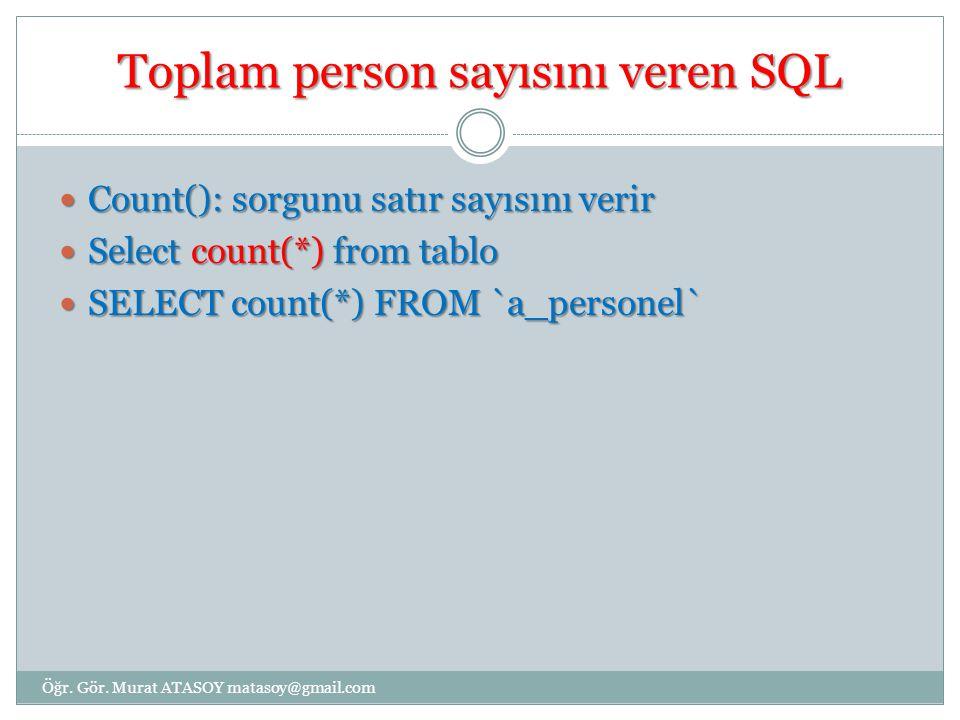Toplam person sayısını veren SQL Count(): sorgunu satır sayısını verir Count(): sorgunu satır sayısını verir Select count(*) from tablo Select count(*) from tablo SELECT count(*) FROM `a_personel` SELECT count(*) FROM `a_personel` Öğr.