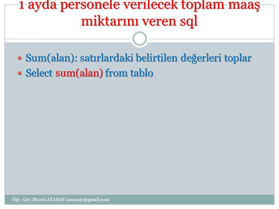 İsmi mehmet olanların maaşlarının toplamı Select sum(maas) from a_personel Select sum(maas) from a_personel Where ad= mehmet Where ad= mehmet Öğr.
