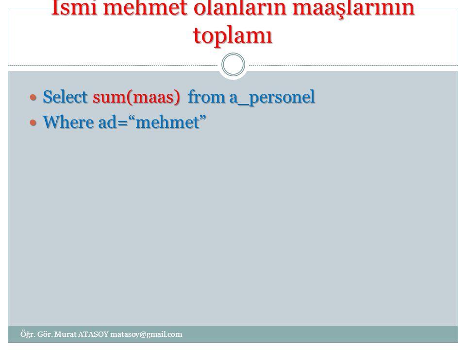 """İsmi mehmet olanların maaşlarının toplamı Select sum(maas) from a_personel Select sum(maas) from a_personel Where ad=""""mehmet"""" Where ad=""""mehmet"""" Öğr. G"""
