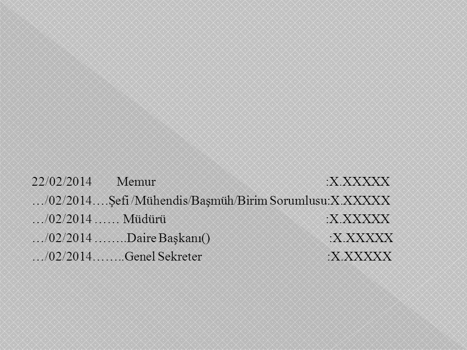 22/02/2014 Memur :X.XXXXX …/02/2014….Şefi /Mühendis/Başmüh/Birim Sorumlusu:X.XXXXX …/02/2014 …… Müdürü :X.XXXXX …/02/2014 ……..Daire Başkanı() :X.XXXXX
