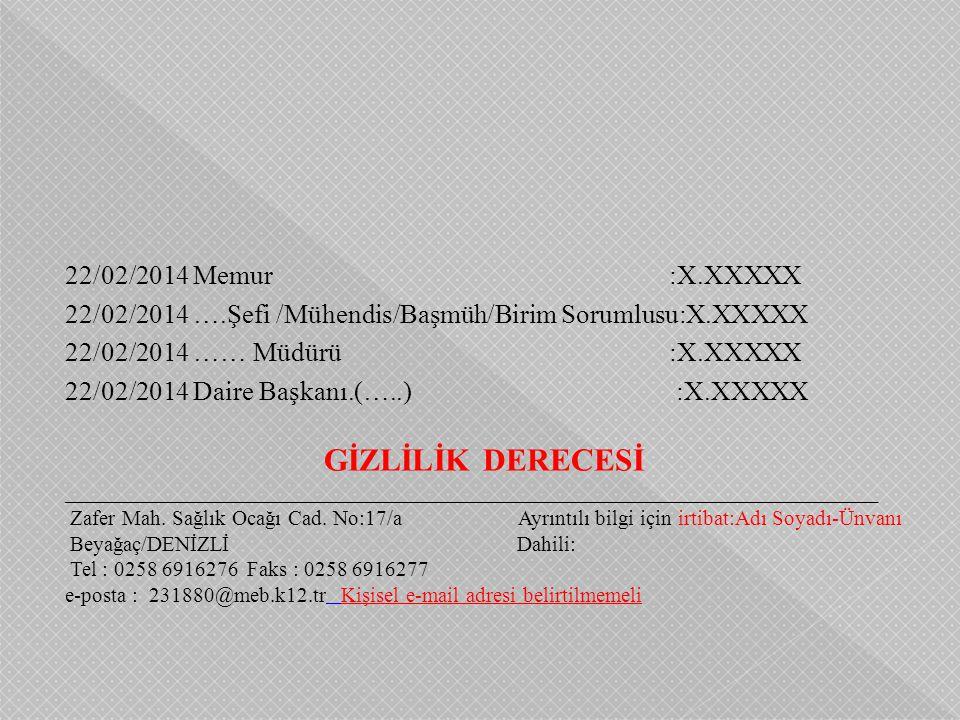 22/02/2014 Memur :X.XXXXX 22/02/2014 ….Şefi /Mühendis/Başmüh/Birim Sorumlusu:X.XXXXX 22/02/2014 …… Müdürü :X.XXXXX 22/02/2014 Daire Başkanı.(…..) :X.X