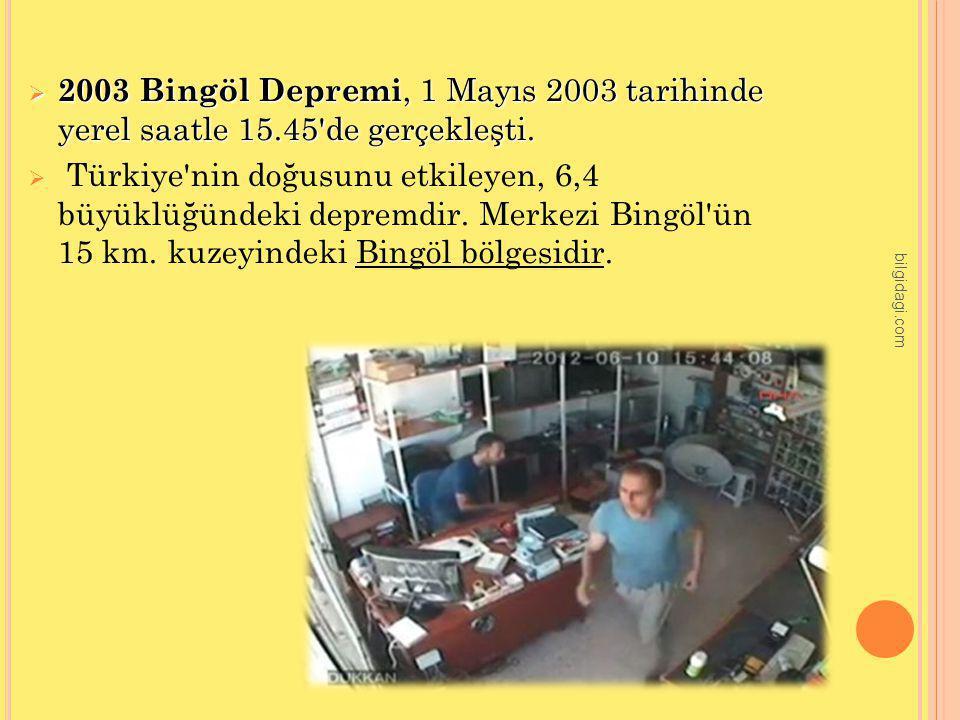  2003 Bingöl Depremi, 1 Mayıs 2003 tarihinde yerel saatle 15.45'de gerçekleşti.  Türkiye'nin doğusunu etkileyen, 6,4 büyüklüğündeki depremdir. Merke