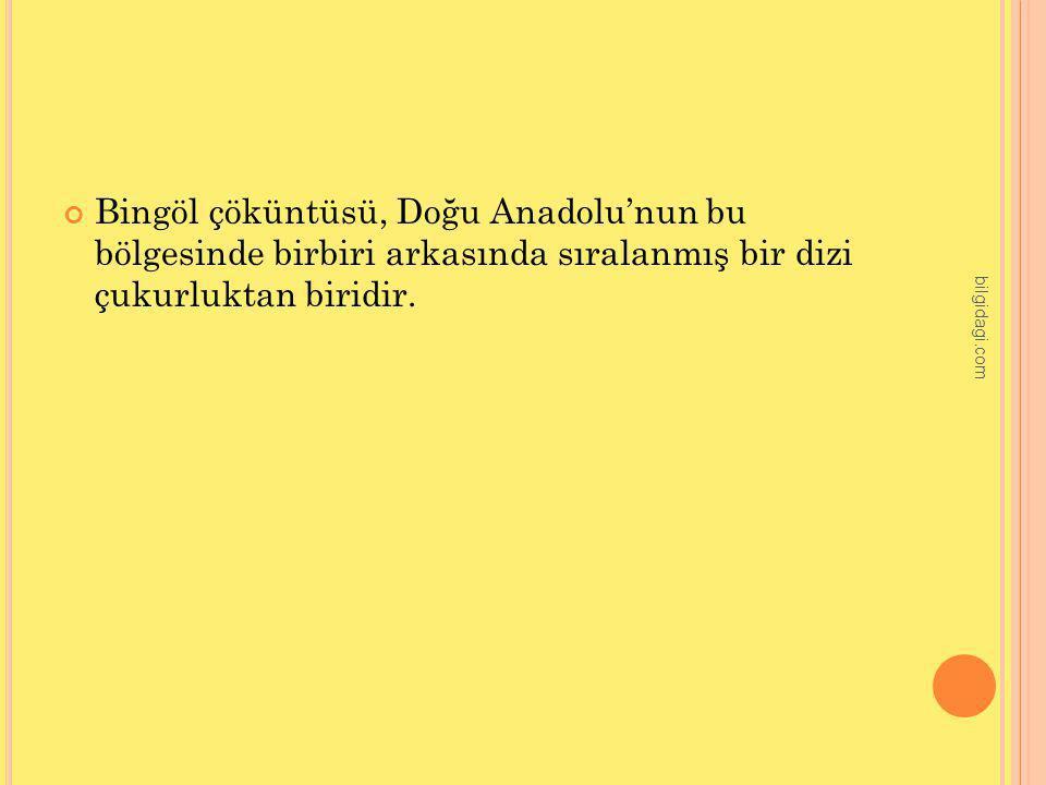 Bingöl çöküntüsü, Doğu Anadolu'nun bu bölgesinde birbiri arkasında sıralanmış bir dizi çukurluktan biridir. bilgidagi.com