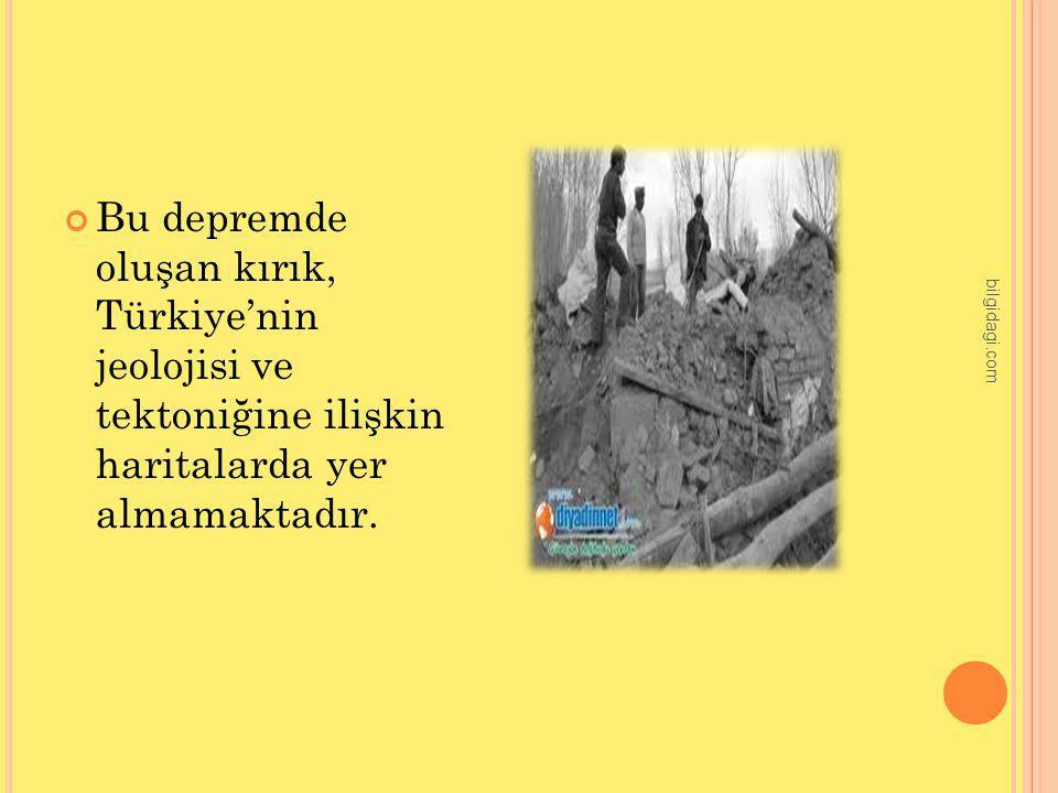 Bu depremde oluşan kırık, Türkiye'nin jeolojisi ve tektoniğine ilişkin haritalarda yer almamaktadır. bilgidagi.com