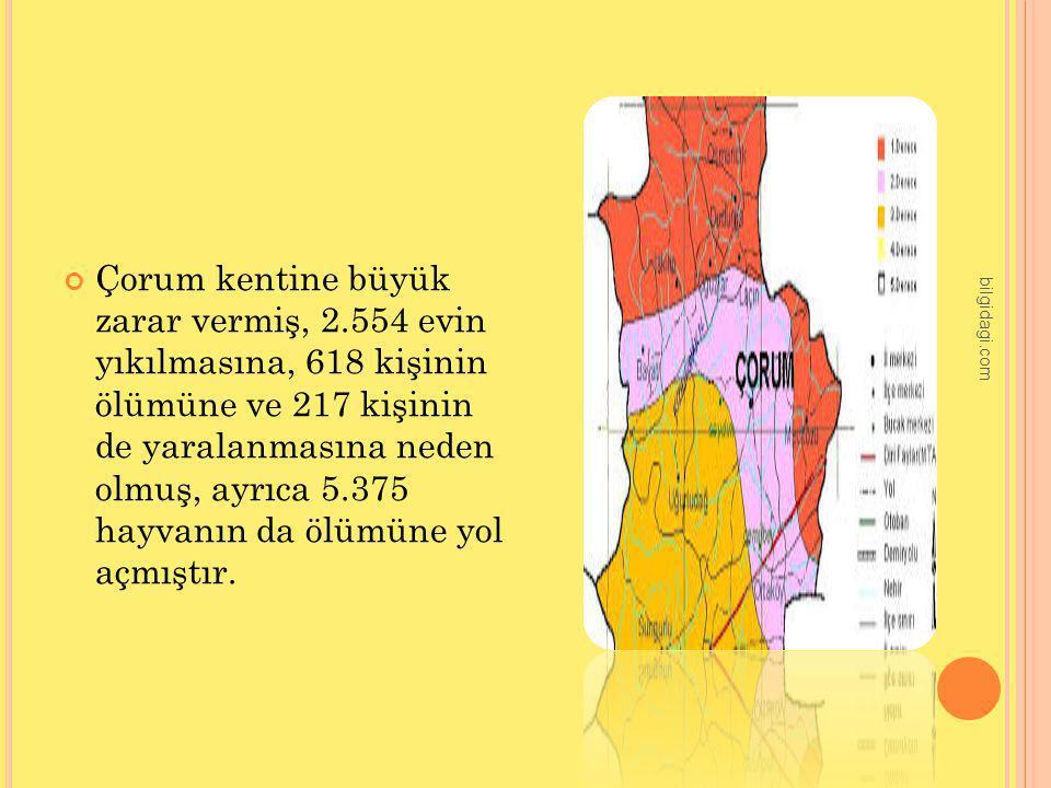 Çorum kentine büyük zarar vermiş, 2.554 evin yıkılmasına, 618 kişinin ölümüne ve 217 kişinin de yaralanmasına neden olmuş, ayrıca 5.375 hayvanın da öl