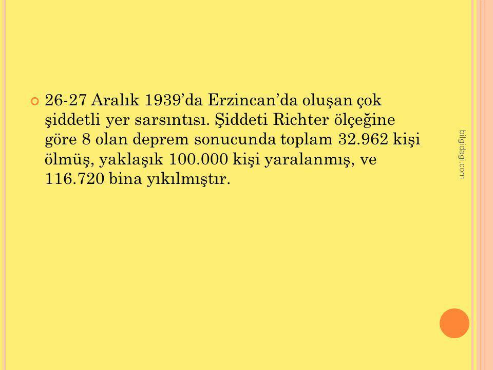 26-27 Aralık 1939'da Erzincan'da oluşan çok şiddetli yer sarsıntısı. Şiddeti Richter ölçeğine göre 8 olan deprem sonucunda toplam 32.962 kişi ölmüş, y