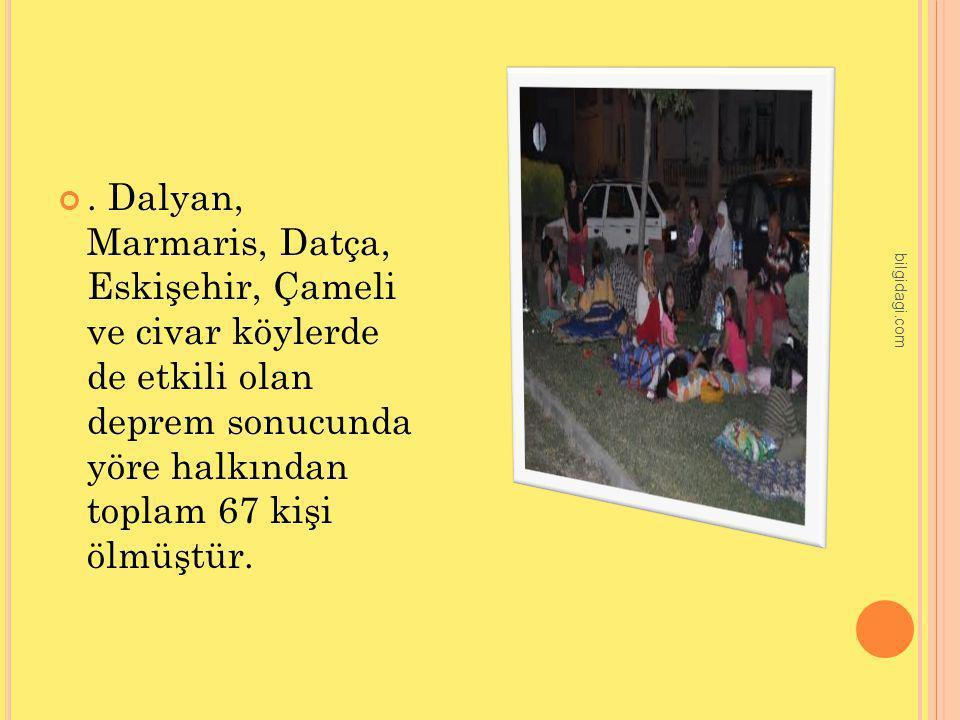 . Dalyan, Marmaris, Datça, Eskişehir, Çameli ve civar köylerde de etkili olan deprem sonucunda yöre halkından toplam 67 kişi ölmüştür. bilgidagi.com