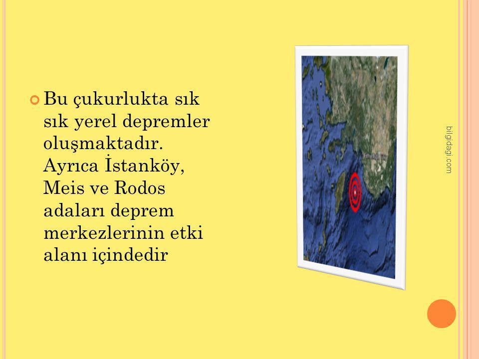 Bu çukurlukta sık sık yerel depremler oluşmaktadır. Ayrıca İstanköy, Meis ve Rodos adaları deprem merkezlerinin etki alanı içindedir bilgidagi.com