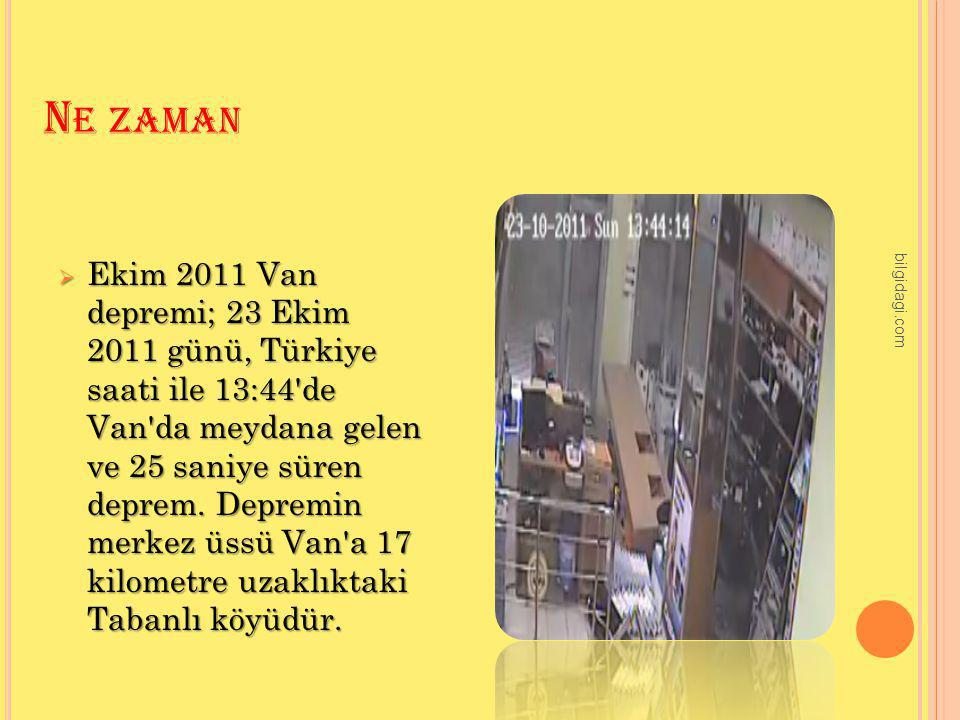 N E ZAMAN  Ekim 2011 Van depremi; 23 Ekim 2011 günü, Türkiye saati ile 13:44'de Van'da meydana gelen ve 25 saniye süren deprem. Depremin merkez üssü