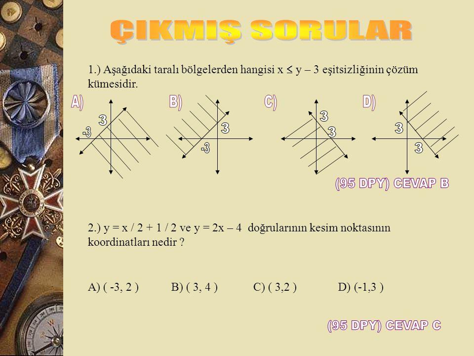 4. ) y  2x y = 2x gibi alınır. x = 0 için y = 0, y = 2 için x = 1 Taralı alanın denklemi nedir. A.) x/-3 + y/4  1, x + y/3  1 B.) x/4 – y/3<1, x/3
