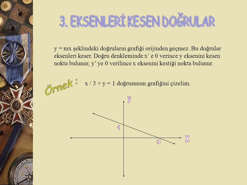 y = mx şeklindeki doğrular orijinden geçer. Bir doğru grafiğini çizebilmek için en az iki nokta gerekir. Bunun için orijinden geçen doğrunun grafiğini