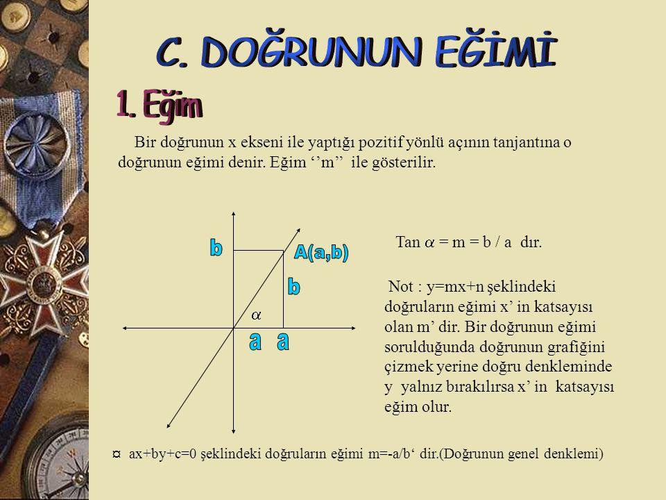 Bir doğrunun x ekseni ile yaptığı pozitif yönlü açının tanjantına o doğrunun eğimi denir.