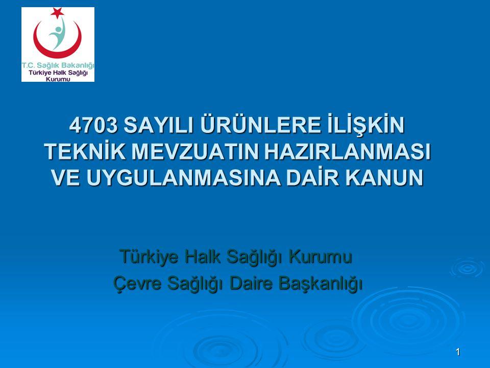 4703 SAYILI ÜRÜNLERE İLİŞKİN TEKNİK MEVZUATIN HAZIRLANMASI VE UYGULANMASINA DAİR KANUN Türkiye Halk Sağlığı Kurumu Çevre Sağlığı Daire Başkanlığı Çevre Sağlığı Daire Başkanlığı 1