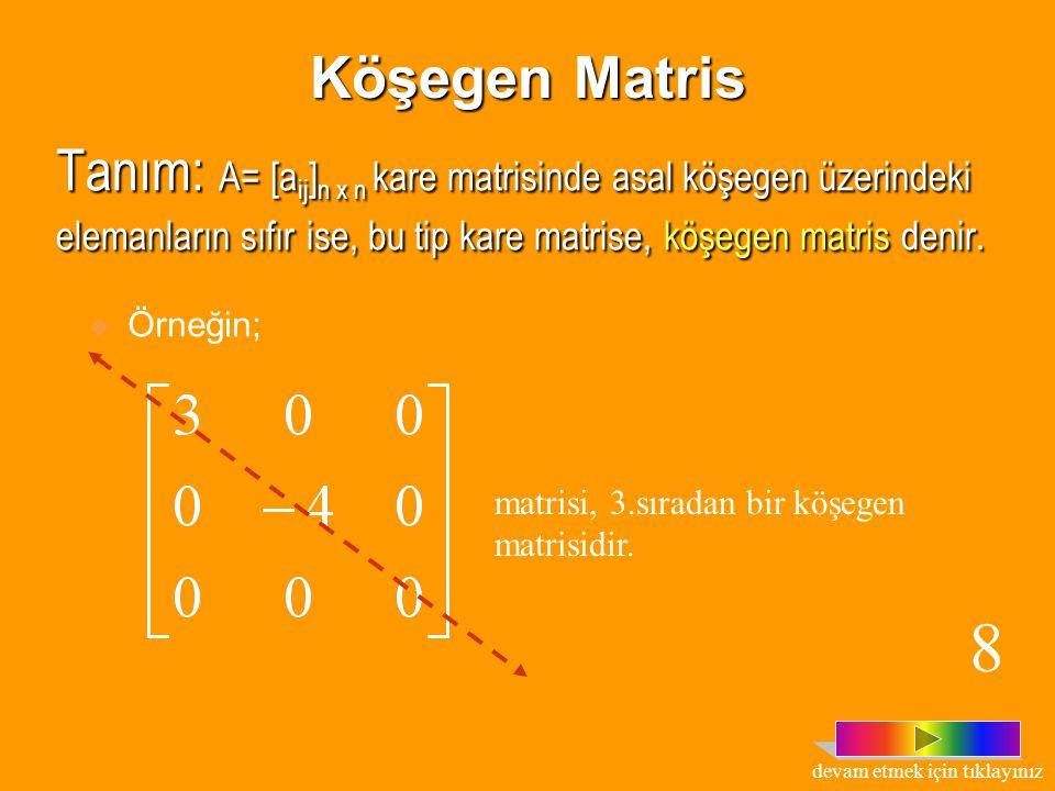 Tanım : A= [a ij ] n x n kare matrisine a 11,a 22,a 33,...,a nn elemanlarının oluşturduğu köşegene, asal köşegen; a n1,a (n-1)2,...,a 1n terimlerinin