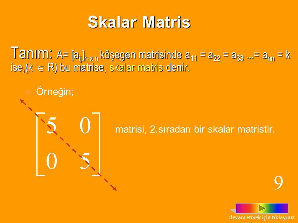 Tanım: A= [a ij ] n x n kare matrisinde asal köşegen üzerindeki elemanların sıfır ise, bu tip kare matrise, köşegen matris denir. 8  Örneğin; matrisi