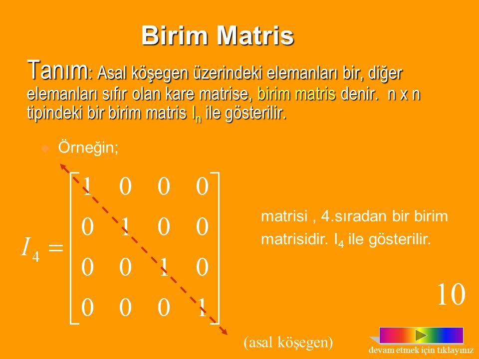 matrisi, 2.sıradan bir skalar matristir. 9 Tanım: A= [a ij ] n x n köşegen matrisinde a 11 = a 22 = a 33...= a nn = k ise,(k  R) bu matrise, skalar m