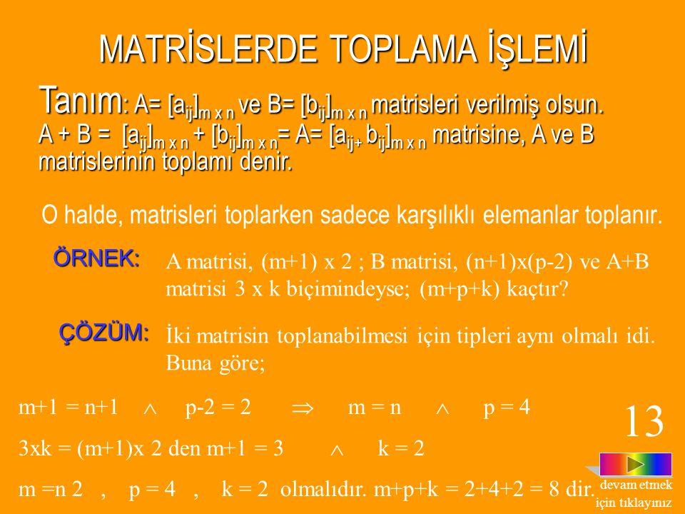         52 235 ba ba b a =       2 4 y x matrislerinin eşitliğinden, ÇÖZÜM ÇÖZÜM : A = B  5a = 4, 5b = 2, 3a + 2b = x,a + 2b = y olduğu
