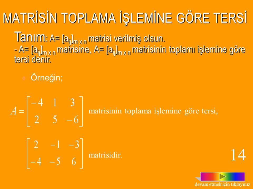 MATRİSLERDE TOPLAMA İŞLEMİ O halde, matrisleri toplarken sadece karşılıklı elemanlar toplanır. Tanım : A= [a ij ] m x n ve B= [b ij ] m x n matrisleri
