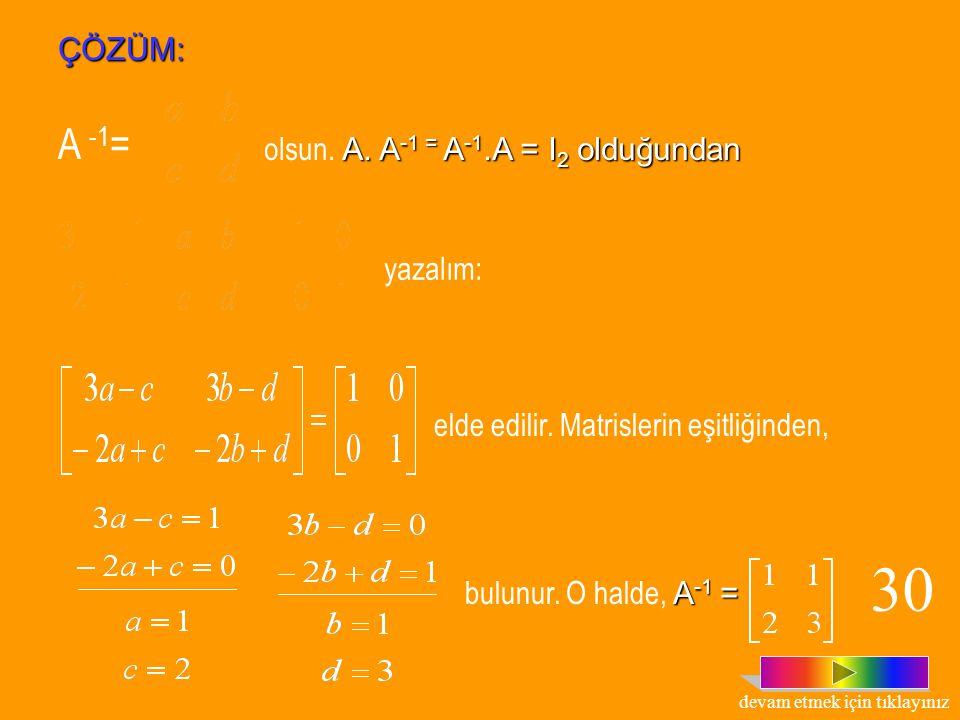 MATRİSİN ÇARPMA İŞLEMİNE GÖRE TERSİ Tanım : n.sıradan bir A matrisi için, A.B=B.A=I n koşulunu sağlayan n. sıradan B kare matrisi varsa, B matrisine,