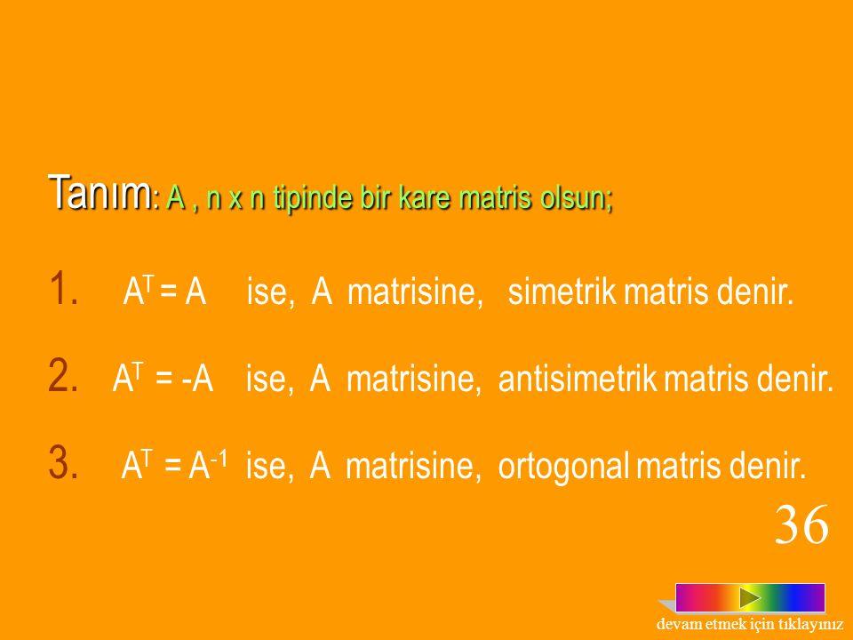Teorem: A tersi olan bir matris ise, (A T ) -1 =(A -1 ) T dir.  Örnek:  Çözüm: 35 devam etmek için tıklayınız