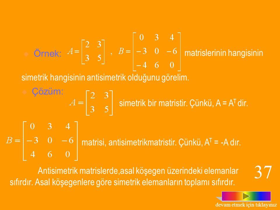 Tanım : A, n x n tipinde bir kare matris olsun; 1. A T = A ise, A matrisine, simetrik matris denir. 2. A T = -A ise, A matrisine, antisimetrik matris