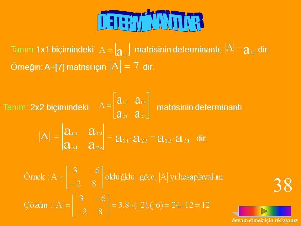  Örnek: matrislerinin hangisinin simetrik hangisinin antisimetrik olduğunu görelim.  Çözüm: simetrik bir matristir. Çünkü, A = A T dir. matrisi, ant