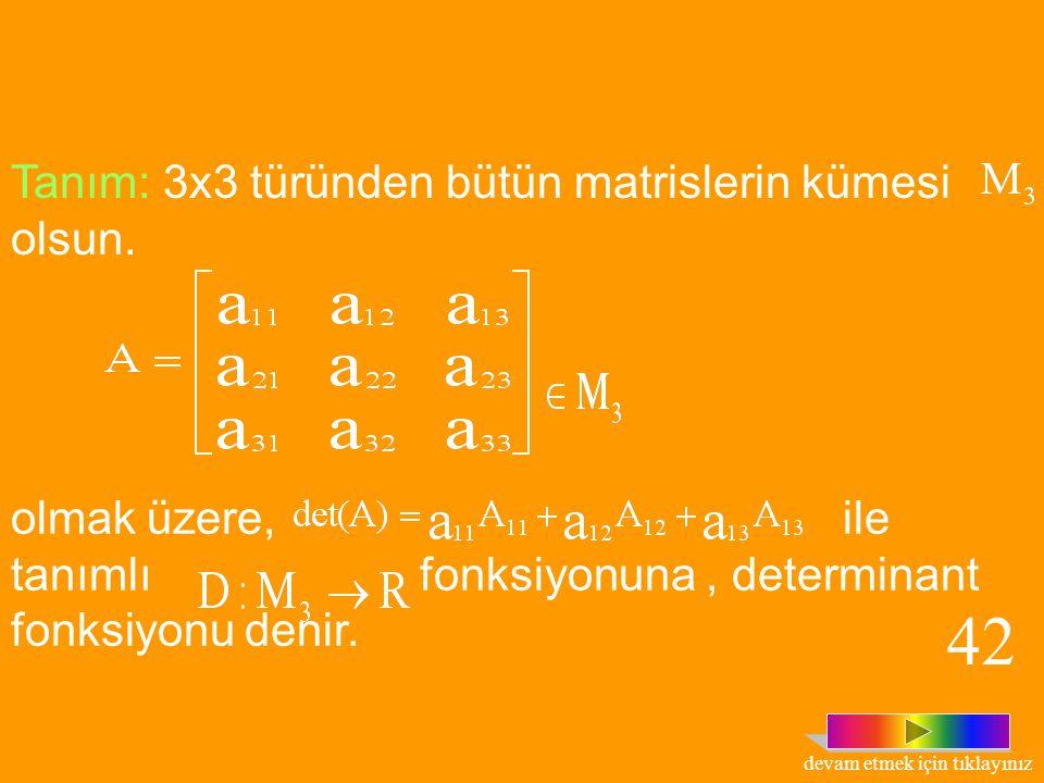 Tanım : n. sıradan bir A kare matrisinin i. Satır ve j. Sütun atıldıktan sonra geriye kalan matrisin determinantına, elemanının Minör'ü denir ve ile g