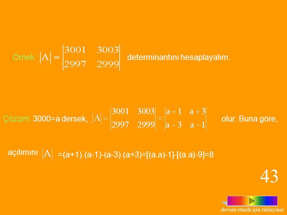 olmak üzere, ile tanımlı fonksiyonuna, determinant fonksiyonu denir. Tanım: 3x3 türünden bütün matrislerin kümesi olsun. 42 devam etmek için tıklayını