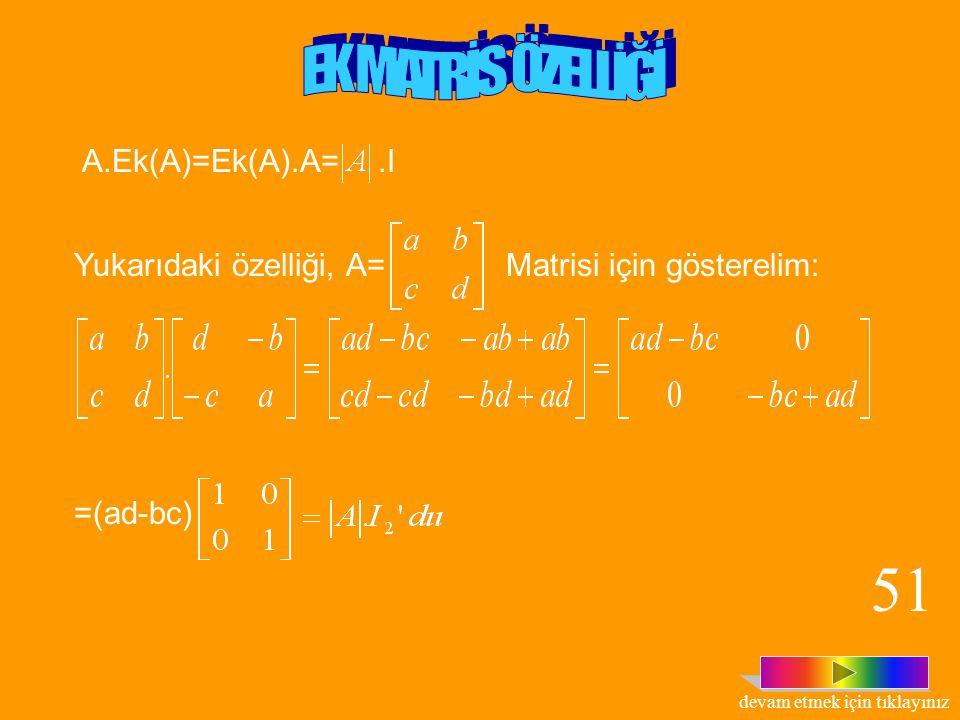 Tanım: n. mertebeden Kare matrisi verilmiş olsun. a ij elemanının kofaktörü ise ; matrisine, A matrisinin ek matrisi denir ve Ek(A) ile gösterilir. Ma