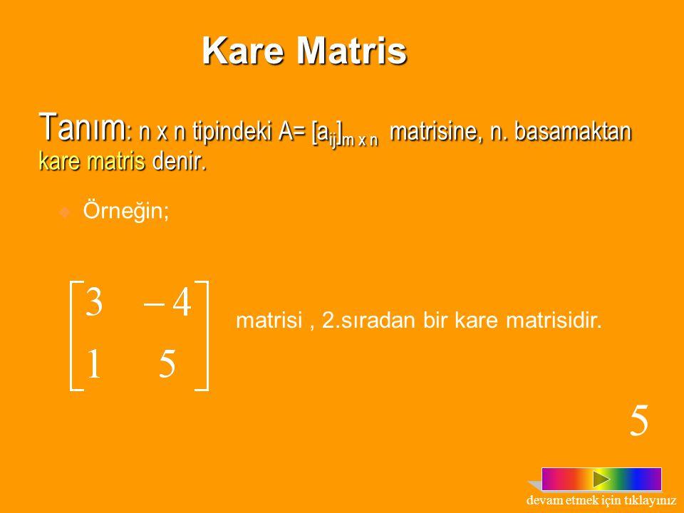 Tanım : n x n tipindeki A= [a ij ] m x n matrisine, n.