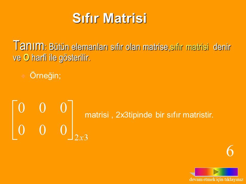 Tanım : Bütün elemanları sıfır olan matrise,sıfır matrisi denir ve O harfi ile gösterilir.