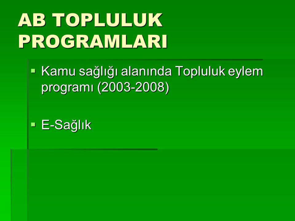 AB TOPLULUK PROGRAMLARI  Kamu sağlığı alanında Topluluk eylem programı (2003-2008)  E-Sağlık