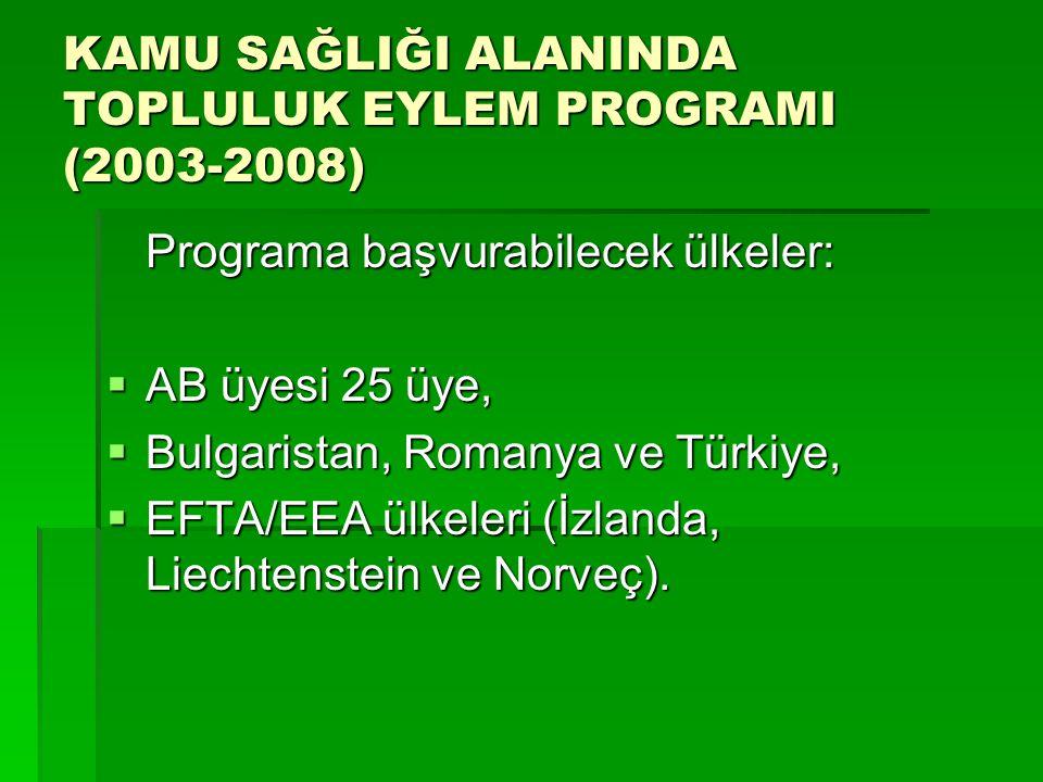 KAMU SAĞLIĞI ALANINDA TOPLULUK EYLEM PROGRAMI (2003-2008) Programa başvurabilecek ülkeler:  AB üyesi 25 üye,  Bulgaristan, Romanya ve Türkiye,  EFTA/EEA ülkeleri (İzlanda, Liechtenstein ve Norveç).