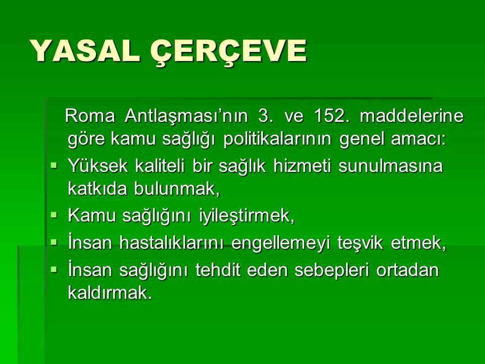 YASAL ÇERÇEVE Roma Antlaşması'nın 3. ve 152.