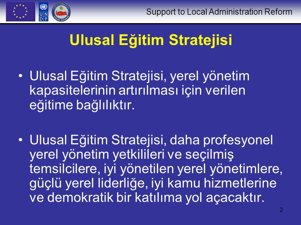 Support to Local Administration Reform 2 Ulusal Eğitim Stratejisi Ulusal Eğitim Stratejisi, yerel yönetim kapasitelerinin artırılması için verilen eğitime bağlılıktır.