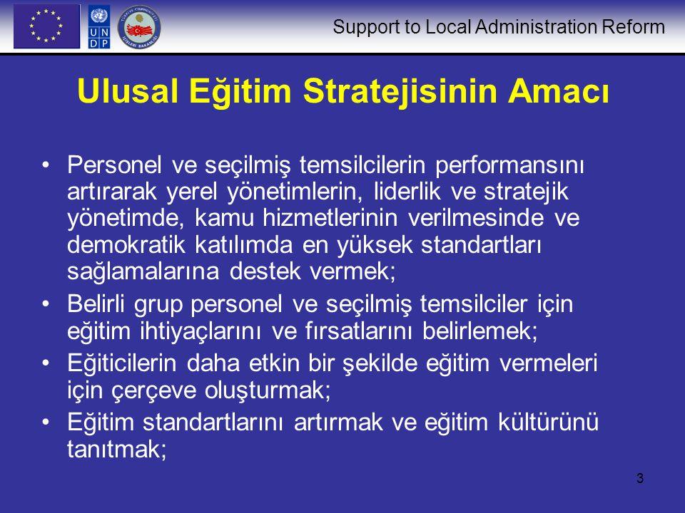 Support to Local Administration Reform 4 Ulusal Eğitim Stratejisinin Amacı (devamı) Eğitimde daha fazla yatırımı teşvik etmek; ve merkezi idare yetkililerine ve ulusal ve uluslar arası kuruluşlara, yerel yönetimlerin etkin bir yerel yönetim verme becerileri konusunda güven vermek; Ulusal, bölgesel ve yerel düzeydeki mevcut kapasiteyi daha iyi kullanmak ve yeni kapasite geliştirmek; Eğitim gündemini, yerel yönetimlerin eğitim ihtiyaçlarının belirlediği, talebe bağlı bir eğitim sistemi geliştirmek; Ulusal Eğitim Stratejisi, yerel yönetimin sürdürebilir kalkınmasına katkıda bulunacaktır.