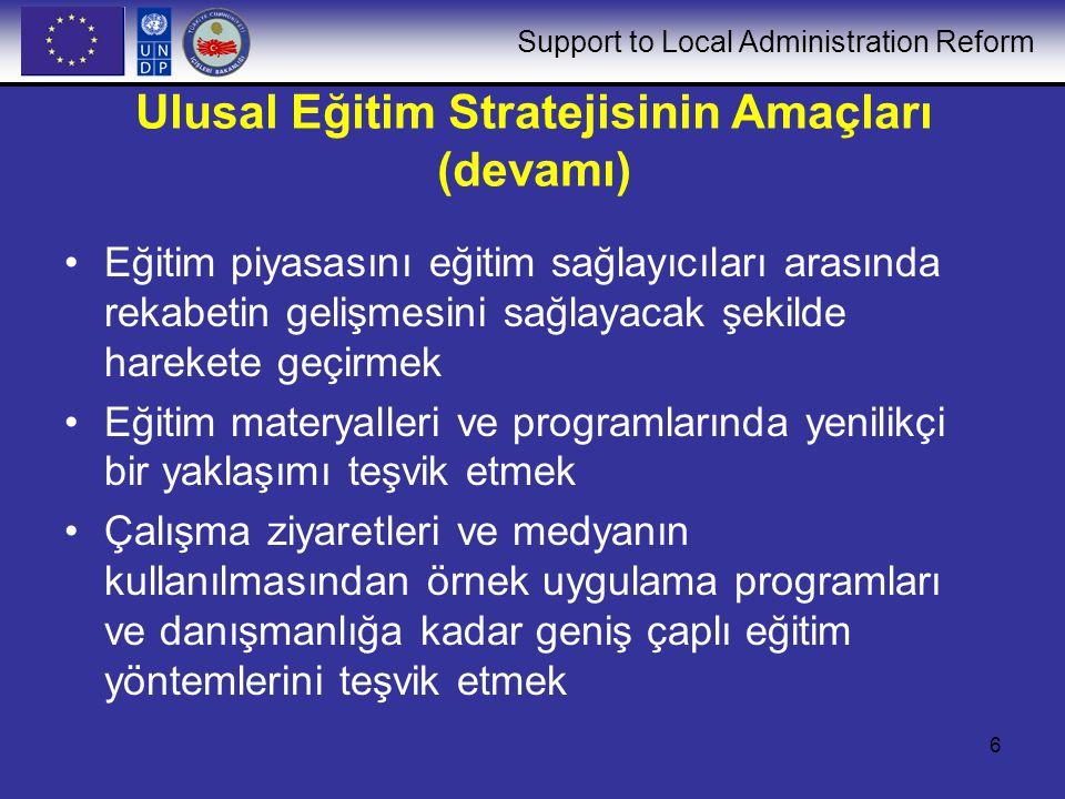 Support to Local Administration Reform 7 Ulusal Eğitim Stratejisinin İlkeleri Sahiplenme Sürdürebilirlik Örnek uygulamadan öğrenme Paydaşlar arasında işbirliği Personel için kariyer geliştirme