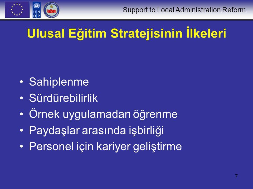 Support to Local Administration Reform 8 Ulusal Eğitim Stratejisi için Önkoşullar Kapsamlı Eğitim İhtiyaçları Değerlendirmesi (TNA) Eğitim sunumunda kalite güvencesi Paydaşların desteği ve paydaşlar arası görüş birliği