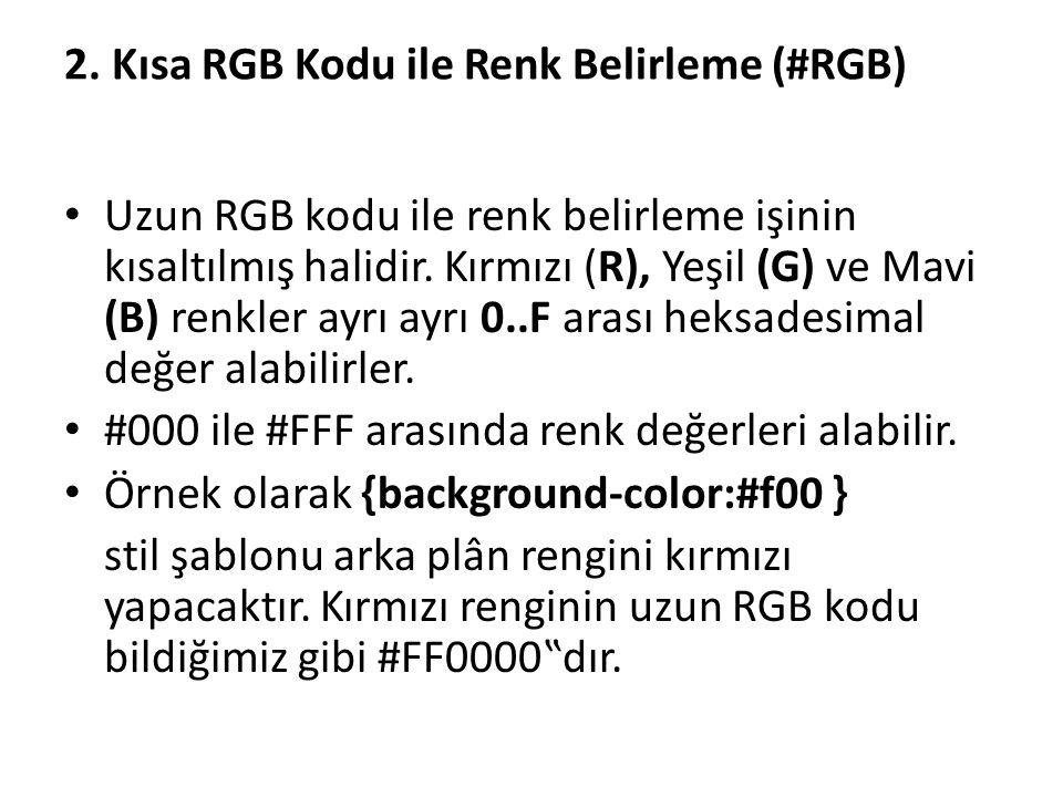 2. Kısa RGB Kodu ile Renk Belirleme (#RGB) Uzun RGB kodu ile renk belirleme işinin kısaltılmış halidir. Kırmızı (R), Yeşil (G) ve Mavi (B) renkler ayr
