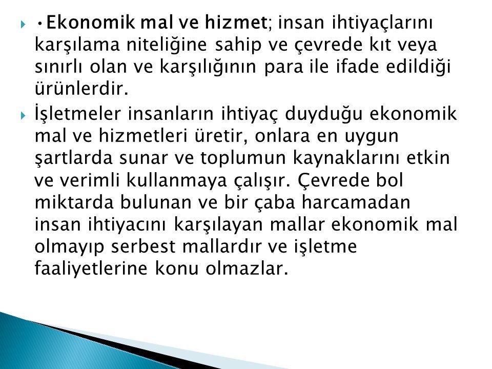 Ekonomik mal ve hizmet; insan ihtiyaçlarını karşılama niteliğine sahip ve çevrede kıt veya sınırlı olan ve karşılığının para ile ifade edildiği ürünl