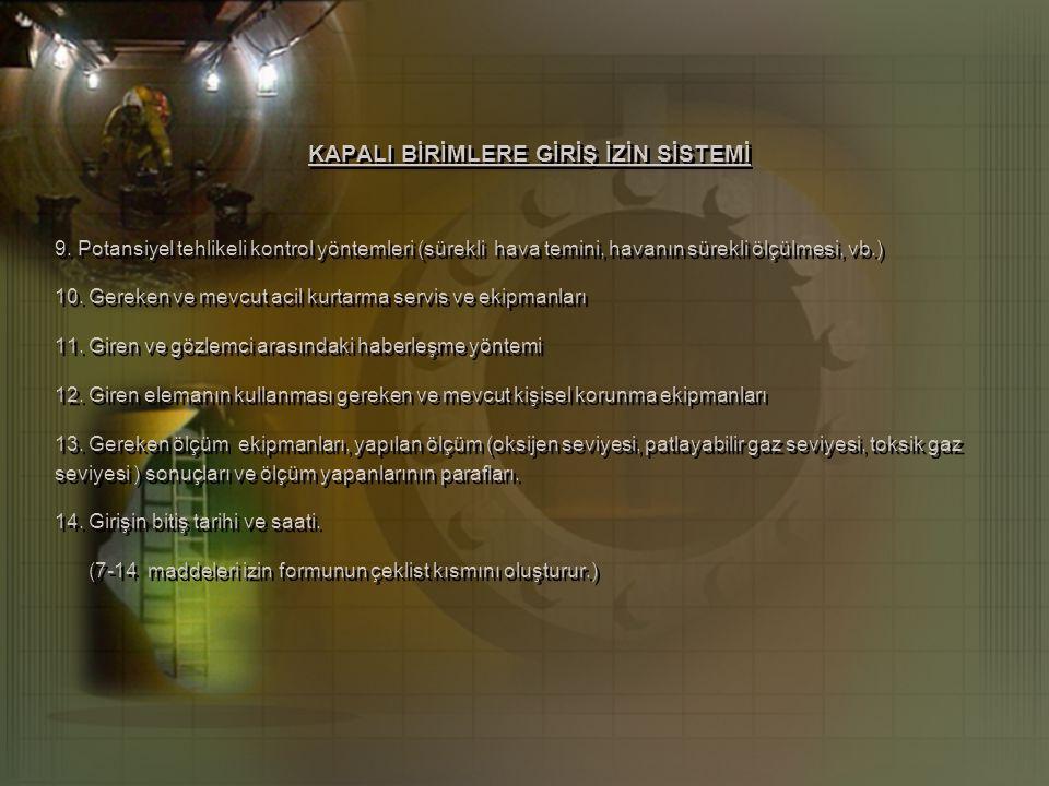 KAPALI BİRİMLERE GİRİŞ İZİN SİSTEMİ 9.