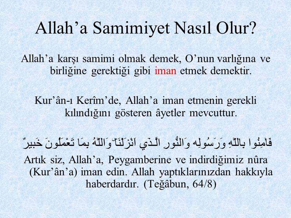 Yine Kur'ân-ı Kerîm'de yüce Allah; bizden, imânın yanısıra itaat ve ibâdet de istediğini belirtmiştir.